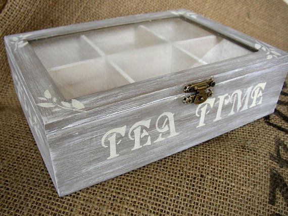 Wooden Tea Box  Christmas Gift  Tea Home Decor  Tea by FloroMondo