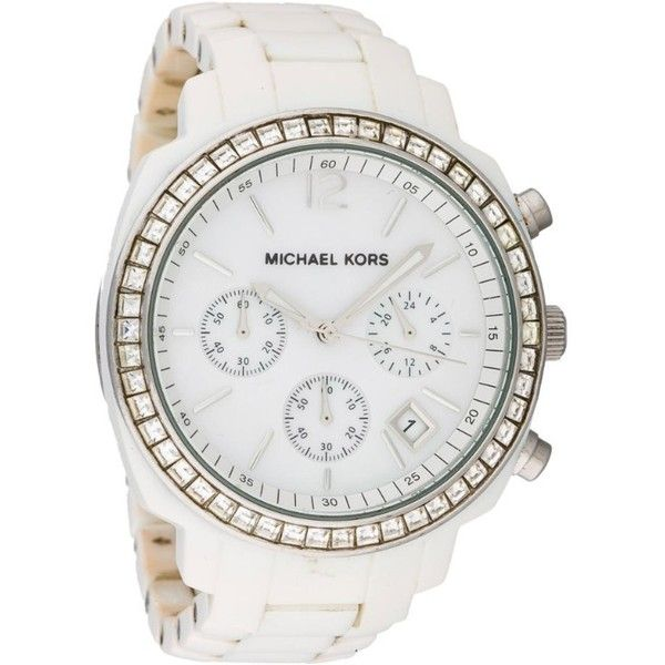 Michael Kors Acrylic Runway Watch ($225) ❤ liked on Polyvore featuring jewelry, watches, accessories, bezel jewelry, michael kors watches, bezel bracelet, bracelet jewelry and chevron jewelry