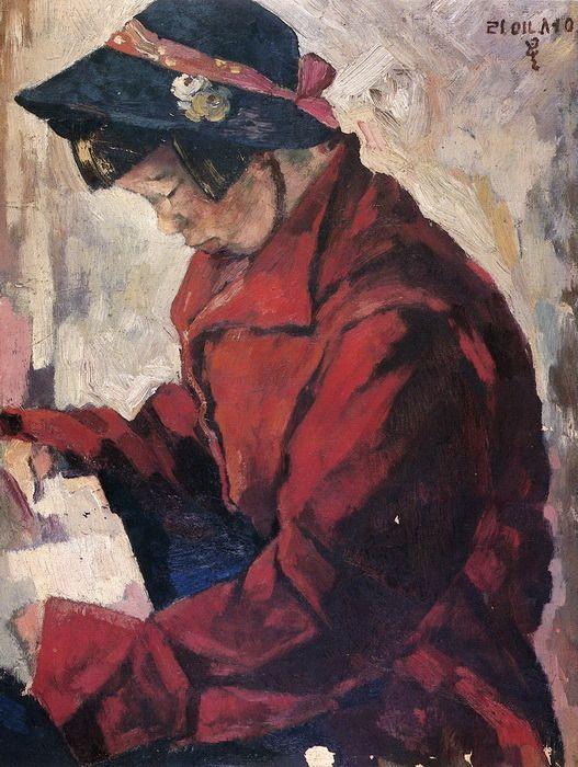 <빨간 코트의 소녀> 40.9 x 31.8cm, 이인성 作