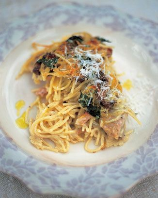 Spaguettis con pollo y Champinones