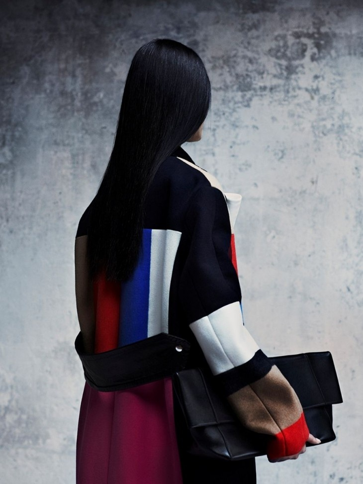 Lina Zhang for Vogue China October 2012 by Julia Hetta...colorblock coat