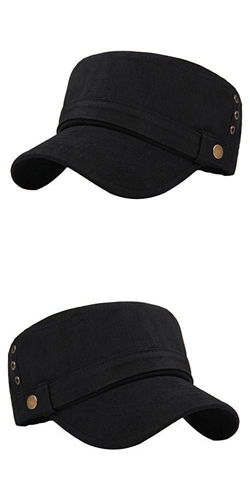 2c275bde108 Men s Cotton Flat Top Peaked Baseball Twill Army Millitary Corps Hat Cap  Visor (Black-