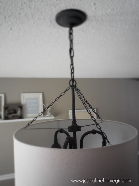 Attach a pendant light shade with small chain links. light fixture update for 20, dining room ideas, lighting