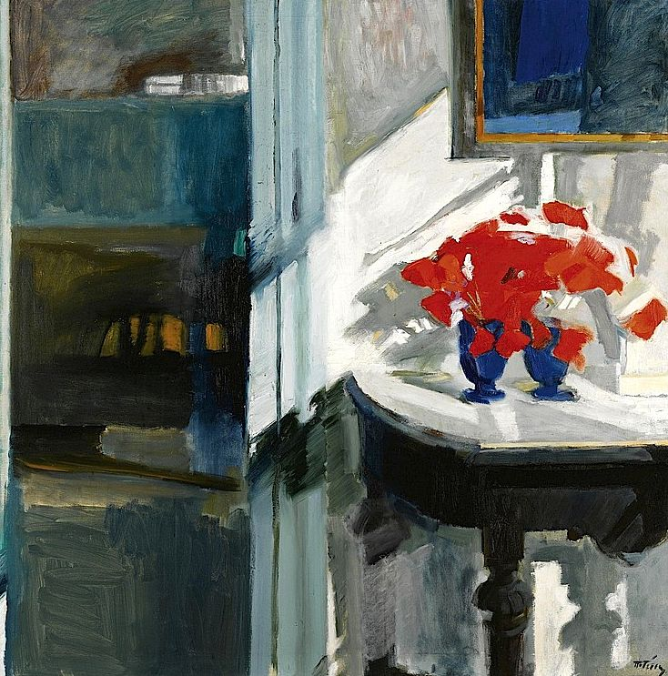PANAYIOTIS TETSIS GREEK B. 1925 STILL LIFE WITH RED FLOWERS