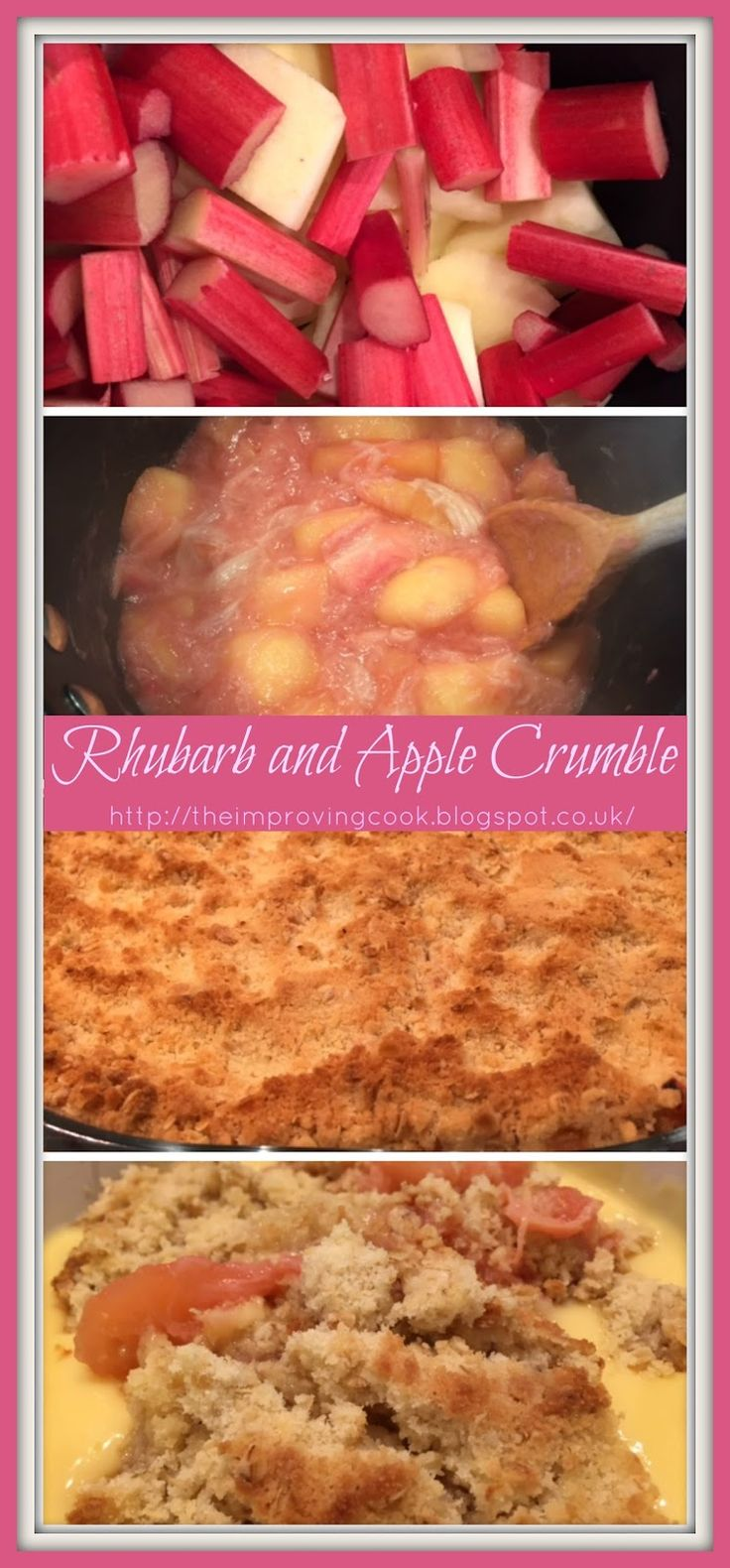 Perfect rhubarb and apple crumble recipe. An easy dessert recipe for family dinners, delicious served warm with custard.