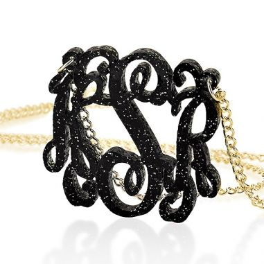 Black & silver glitter acrylic monogram necklace - gold plated chain
