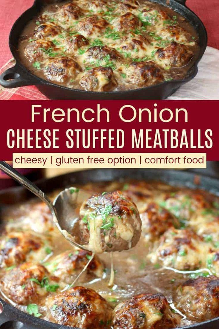 French Onion Mozzarella Stuffed Meatballs Cupcakes Kale Chips Recipe In 2020 Classic Soup Recipe Meatball Dinner Mozzarella Stuffed Meatballs