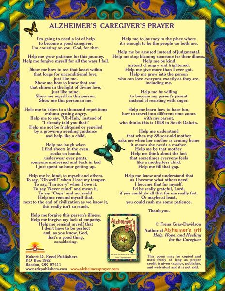 Alzheimers Caregivers Prayer - gonna need to frame this one