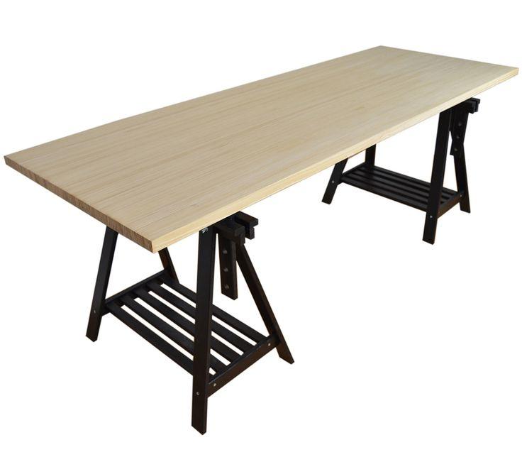 mesa caballetes con tablero de pino alistonado grueso