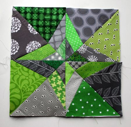 paper piecing night & day quilt block in modern grey & green. - loads of free paper piecing blocks