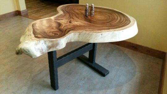 This is a custom hammered steel table base.
