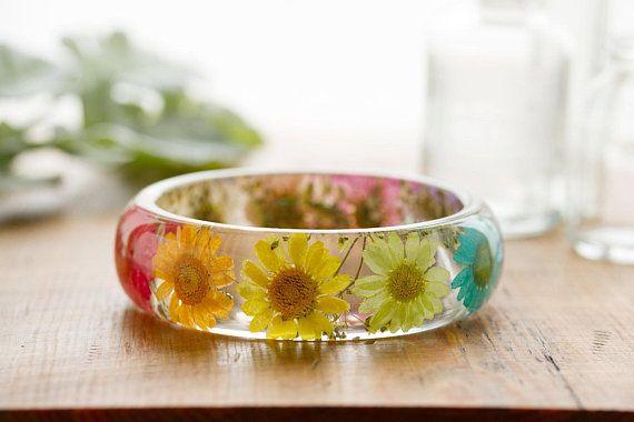 Real Flower Bangle Pink Daisy Bangle Botanical Jewellery Resin Bangle Gypsophila Jewellery Pink Bracelet Gifts for Her