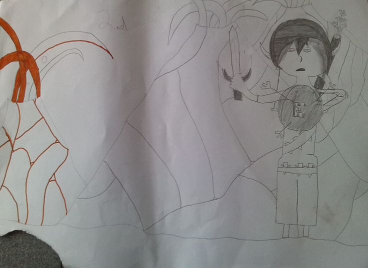 Entry 51 Elf at Flame Mountain by Jackson, grade 5 #fantasy #art