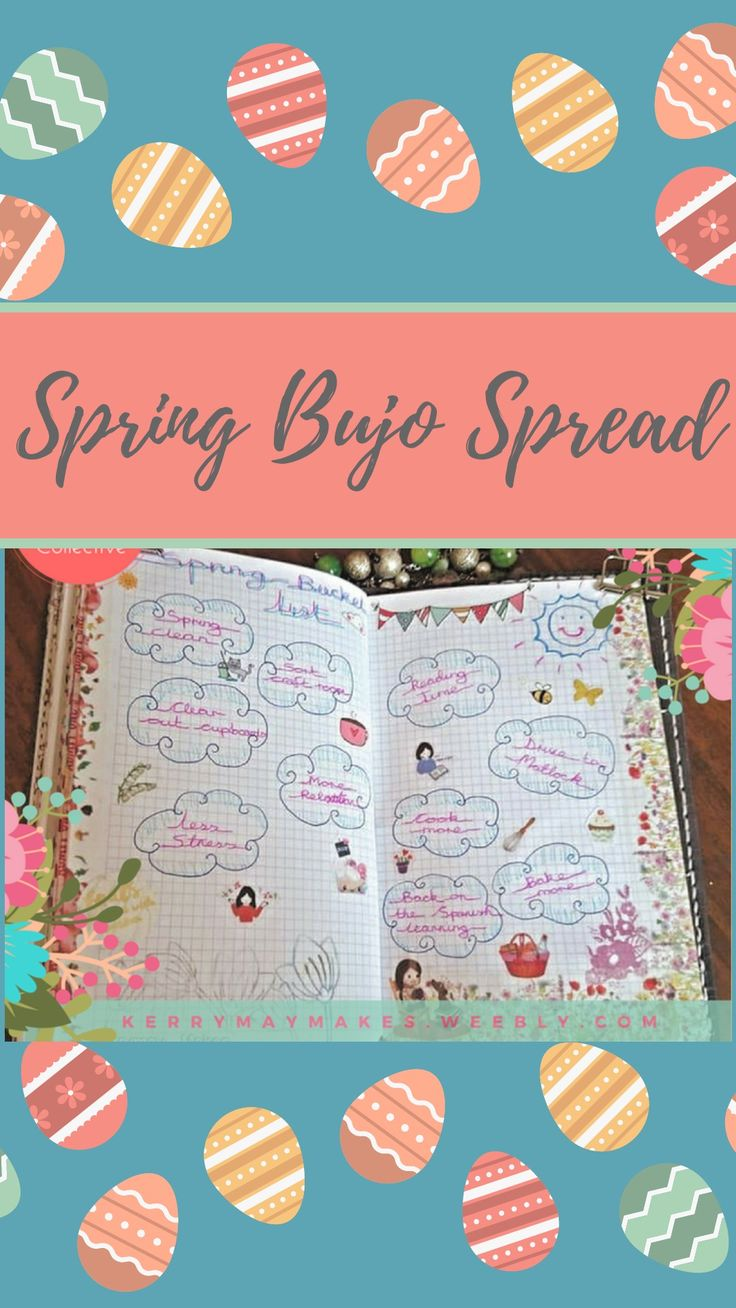Spring Bujo, bullet journal and planner spreads and layouts #plannerspreads #plannerideas #springbujoideas