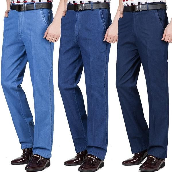 Men Over Size Elastic Trousers Jeans Straight Leg Loose Casual High Waist Pants