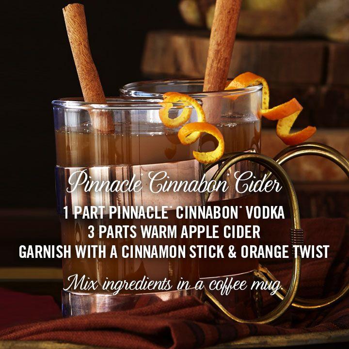 PINNACLE® CINNABON® CIDER 1 part Pinnacle® Cinnabon® Vodka 3 parts Warm Apple Cider Garnish with a Cinnamon Stick & Orange Twist Mix ingredients in a coffee mug.