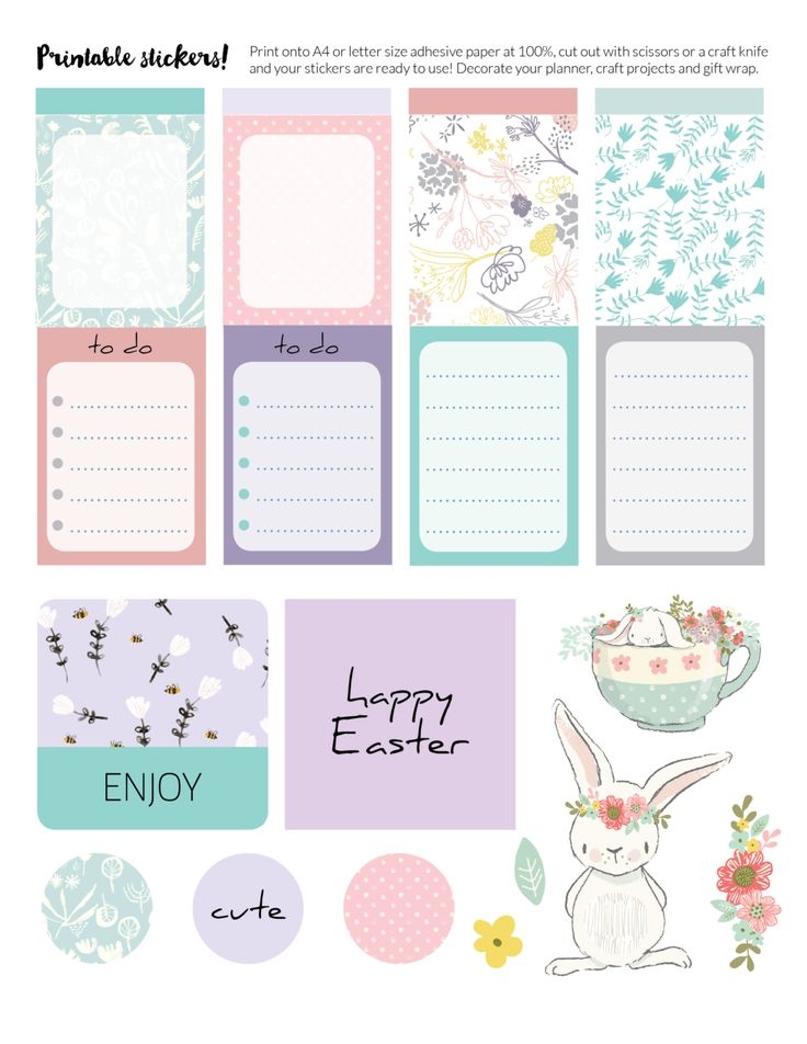 Free Printable Easter Planner Stickers from Space and Quiet
