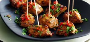 Bring a taste of the Caribbean to your party with these spicy skewers. Marinating the chicken in the jerk seasoning overnight ensures the meat is fully loaded with flavour.