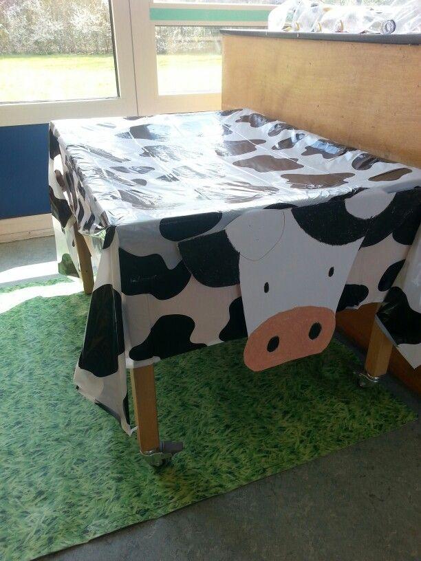 Koe- tafellaken koeprint over de zandtafel