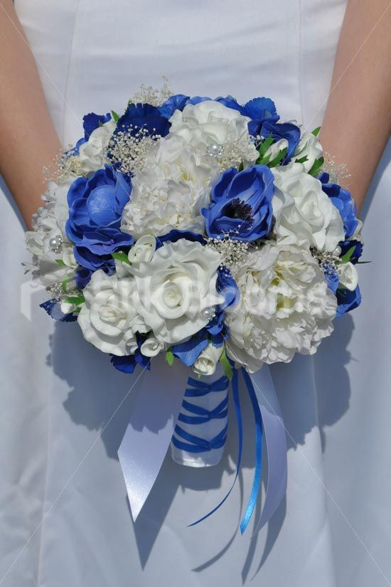 Royal Blue Anemone and Hydrangea, White Fresh Touch Rose and Real Preserved Gypsophila Bridal Bouquet