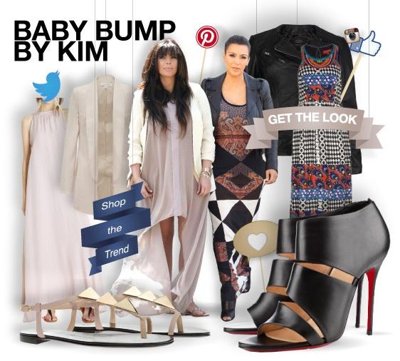 Baby bump by Kim - shopthemagazine.com #KimKardashian #BabyBump #mum-to-be #maxidress