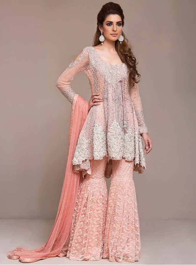 best stylish light pink short frock with sharara dress for wedding barat function