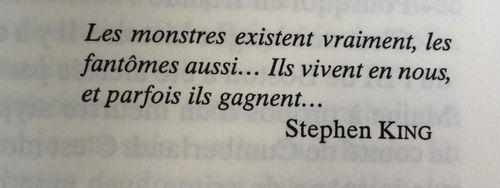 """""""Les monstres existent vraiment, les fantômes aussi... Ils vivent en nous, et parfois ils gagnent..."""" Stephen King"""