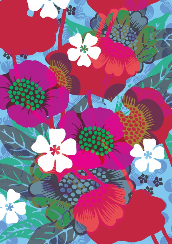Hanna Werning - tropical floral pattern Find more designs by Hanna Werning here - http://www.creativesketchbook.co.uk/2012/04/fascination-with-pattern-hanna-werning.html