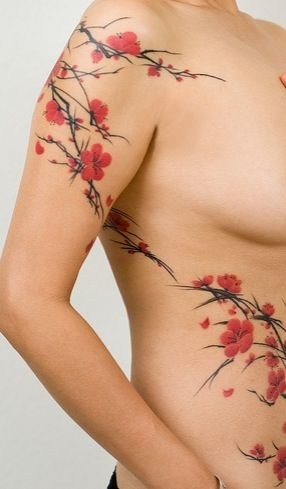 Cherry blossom tattoo this is different than the wispy ones. But I love the pop…                                                                                                                                                                                 Más