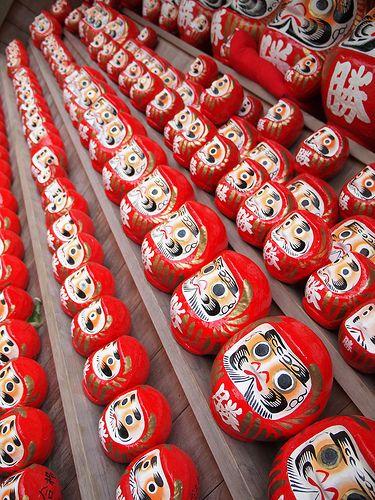 Daruma dolls - Daruma dolls are seen as a symbol of perseverance and good luck in Japan-: photo by k n u l p, via Flickr