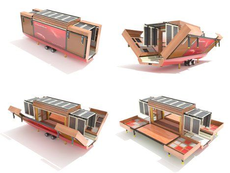 Folded up, the design from Mehdi Hidari Badie looks like one of those mobile storage units. But when you get to your destination, this incredible modern mobile home unfolds into a house that looks nothing like the mobile homes we are used to. The lightweight but sturdy home is made of eco-friendly recycled materials and includes a bank of solar panels on top to keep the home powered up at all times.