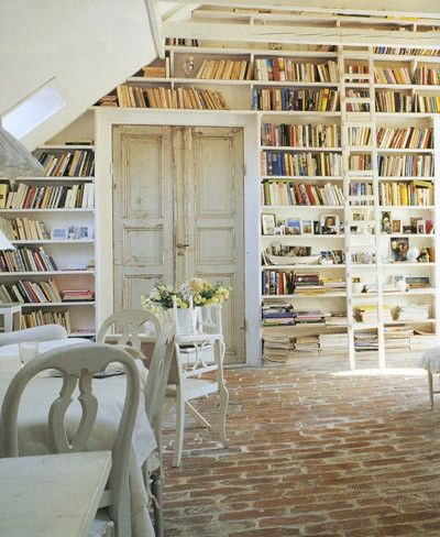 Suelo r stico escalera de biblioteca estanter as - Escalera de biblioteca ...