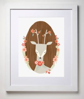 Our+lovingly+illustrated+'Oh+Deer'+is+such+a+sweet+lady,+she+will+watch+over+your+special+little+dreamer+all+night+long.+Printed+on+carbon+neutral,+linen+card.+Available+framed+or+un-framed.+(White+frame+as+pictured)+