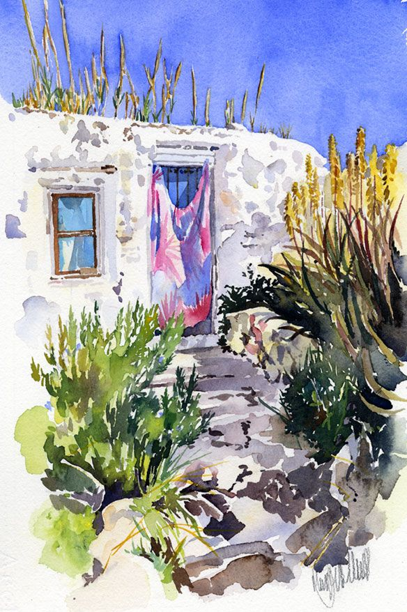The latestof my small, watercolour sketches.A hippie cottage behind the beach at San Pedro. I liked the contrast between the blue sky and door with the yellow flowers of the aloe vera. The size o…
