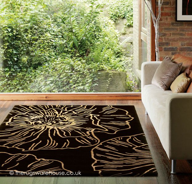 Liberty Black Rug A Hand Tufted Beige Flower Themed Wool Viscose Available In 3 Sizes Http Www Therugswarehouse Co Uk Fl Ru