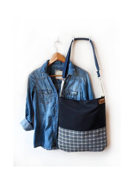The Afternoon// Navy Blue and Plaid Corduroy Crossbody Bag