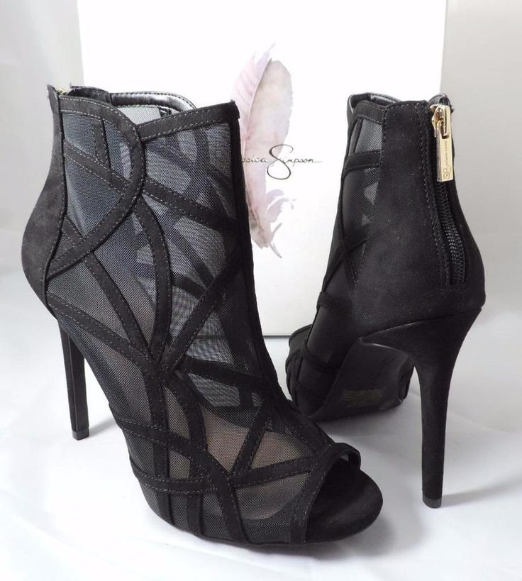 Women's Jessica Simpson RIVENA Open Toe Booties Shooties Heel Mesh Black  Size 10 #JessicaSimpson #