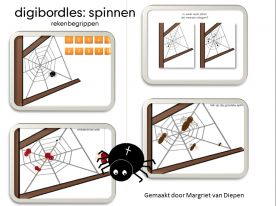 Digibordles: Spinnen- rekenbegrippen  Doelen:   *Aantal combineren met cijfer (tot 10)  *Oefenen van het begrip: meeste  *Vergelijken: grootste, kleinste, groter dan, kleiner dan, even groot  *Oefenen van plaatsbepalende begrippen:  middenin, bovenin, naast, onderin, boven, onder, links, rechts