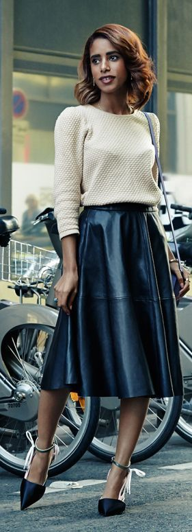 Black Leather Midi A-skirt by The Fierce Diaries. Black Full Skirt Fashion.