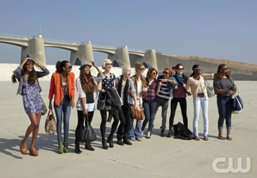 """""""J. Alexander"""" -- Pictured left to right: Eboni, Annaliese, Candace, Sophie, Laura, Kyle, Ashley, Azmarie, Catherine, Alish and Seymone Cycle 18 Photo: Chris Frawley/The CW ©2012 The CW Network, LLC. All Rights Reserved"""