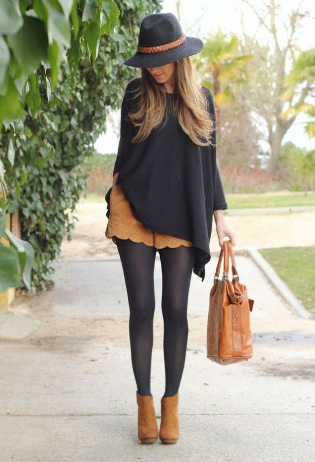 Black sweater, brown shorts, brown ankle boots, brown bag and hat