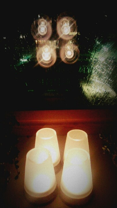 Candle lights on a raining day..