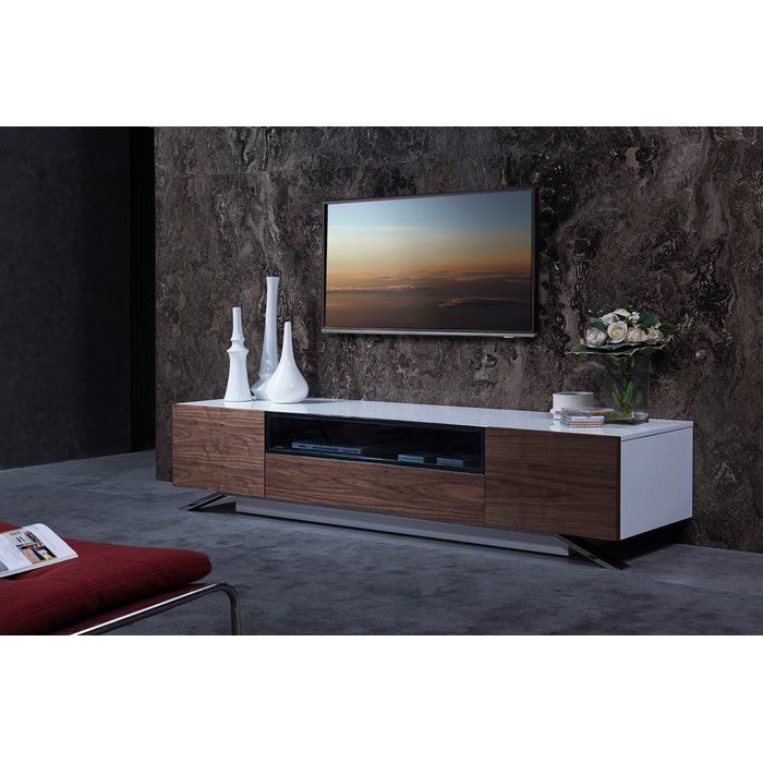 Popular This is a modern style TV stand with a variety of amenities and convinces The stand features a white gloss finish on the body along with a light walnut