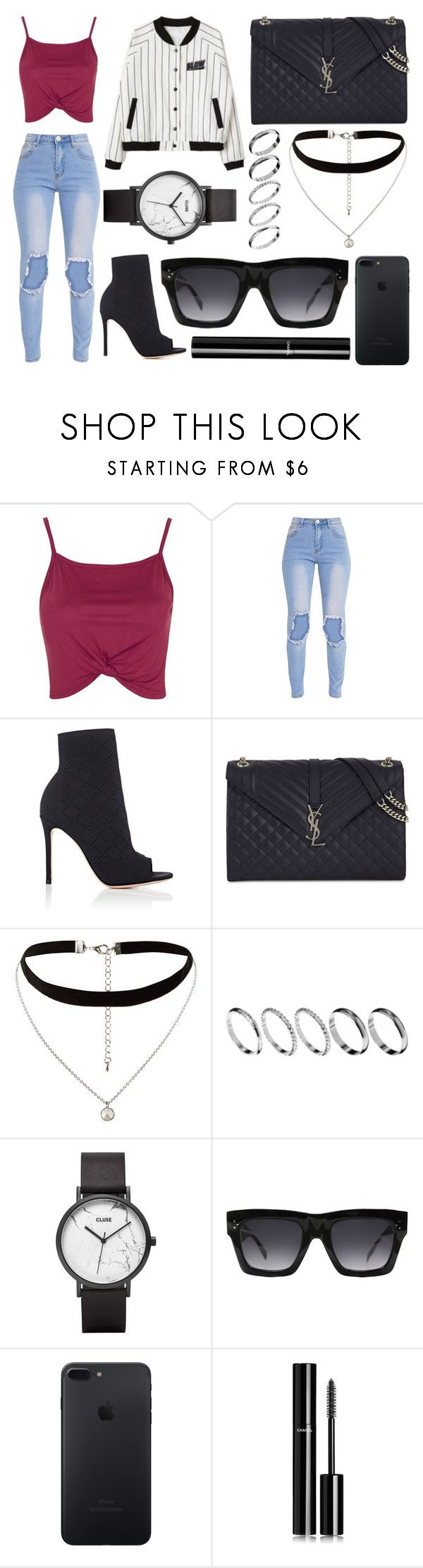 """351."" by plaraa on Polyvore featuring moda, Topshop, Gianvito Rossi, Yves Saint Laurent, New Look, ASOS, CLUSE, CÉLINE y Chanel"