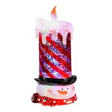 LED Glitter Snowman Candle at Kirkland's... I have to have THIS!!! I love #Kirklands  #Christmas