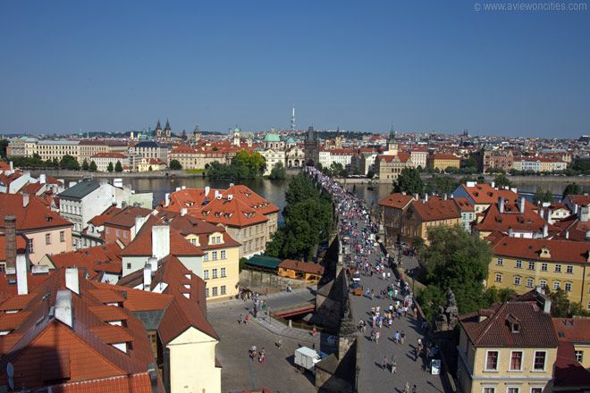 View towards Old Town from the Lesser Town Bridge Tower, Prague