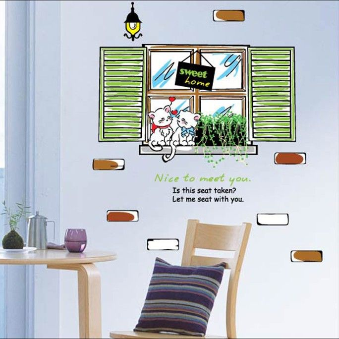 Cheap Wallpaper Vinyl, Buy Quality Wallpaper Directly From China Wallpaper  Flock Suppliers: Cartoon Window Lamps Couple Cats Wall Sticker Wall Mural  Home ... Part 84
