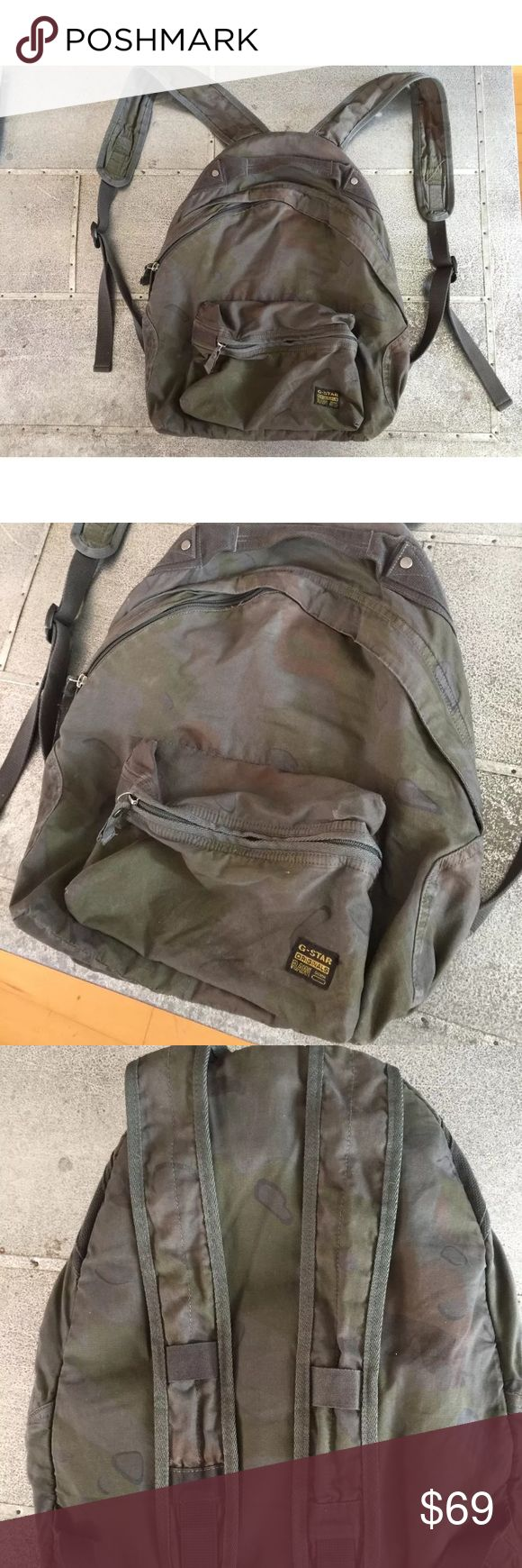 G STAR RAW backpack Up for sale is a nice G Star camo backpack. This pack has a lot of cool details and little pockets, it's also very comfortable to wear and can fit your stuff. Good used condition. G Star Raw Bags Backpacks