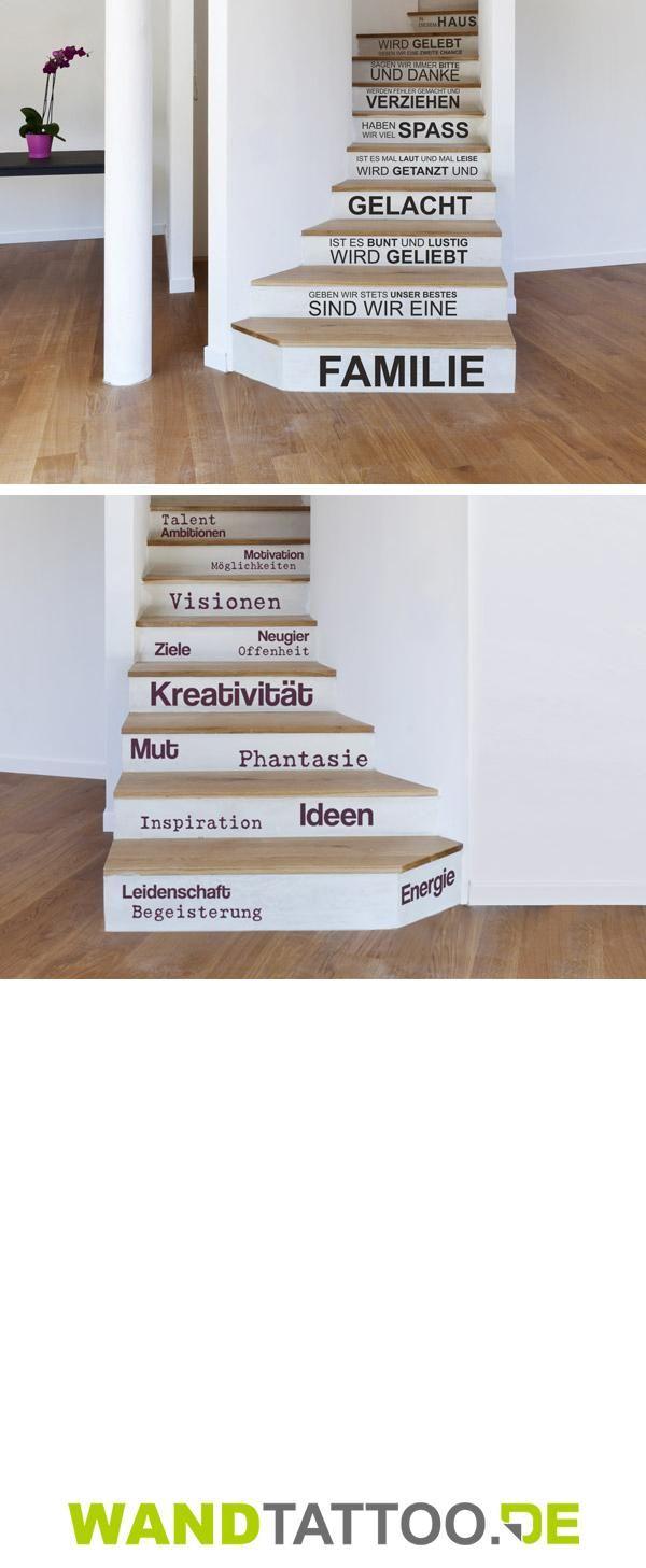Luxury Kreative DIY Idee Treppenstufen mit Wandtattoos individuell gestalten und bekleben Sch ne Spr che und