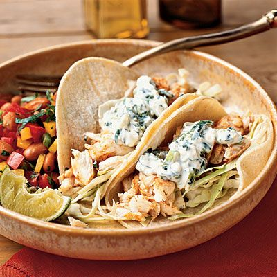 Fish Tacos with Lime-Cilantro Crema: Dinners Tonight, Fish Tacos, Limes Cilantro Crema, Sour Cream, Mr. Tacos, Tacos Recipes, Shrimp Tacos, Cooking Lights, Limecilantro Crema